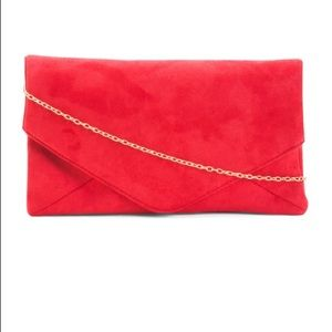RED Faux Suede Envelope Clutch/ Chain Strap